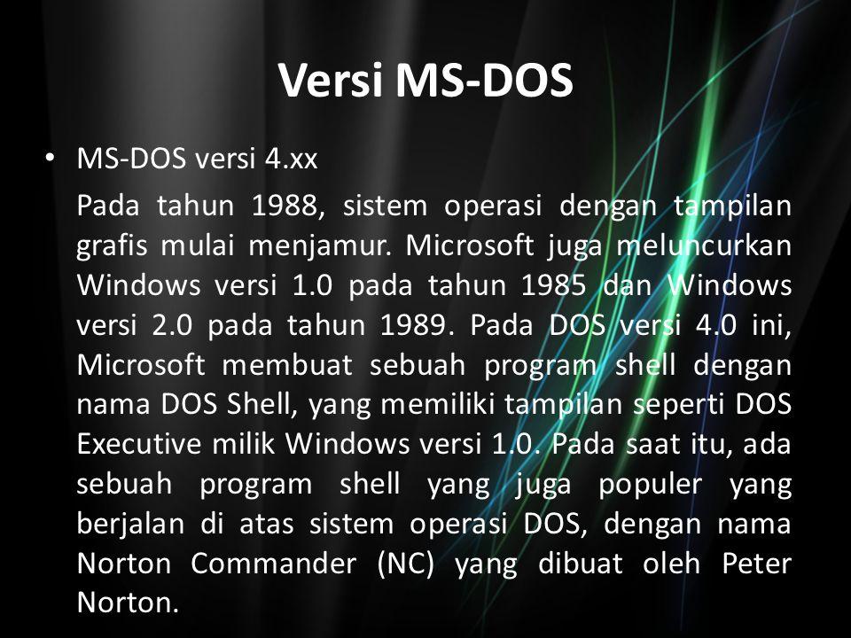 Versi MS-DOS MS-DOS versi 4.xx Pada tahun 1988, sistem operasi dengan tampilan grafis mulai menjamur. Microsoft juga meluncurkan Windows versi 1.0 pad