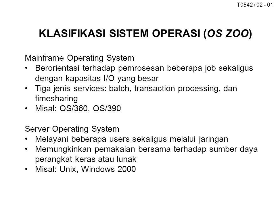 T0542 / 02 - 01 KLASIFIKASI SISTEM OPERASI (OS ZOO) Mainframe Operating System Berorientasi terhadap pemrosesan beberapa job sekaligus dengan kapasita