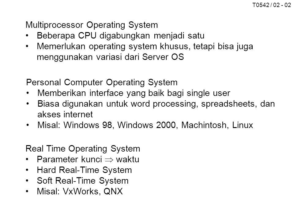 T0542 / 02 - 02 Multiprocessor Operating System Beberapa CPU digabungkan menjadi satu Memerlukan operating system khusus, tetapi bisa juga menggunakan