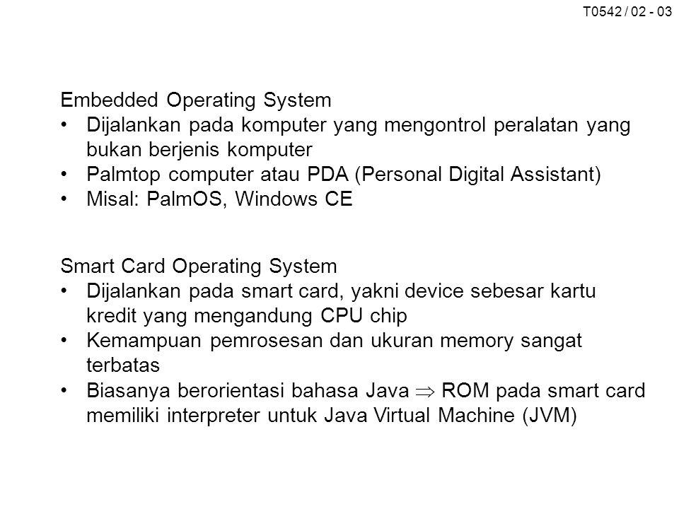 T0542 / 02 - 03 Embedded Operating System Dijalankan pada komputer yang mengontrol peralatan yang bukan berjenis komputer Palmtop computer atau PDA (P