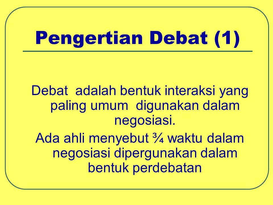 Pengertian Debat (1) Debat adalah bentuk interaksi yang paling umum digunakan dalam negosiasi. Ada ahli menyebut ¾ waktu dalam negosiasi dipergunakan