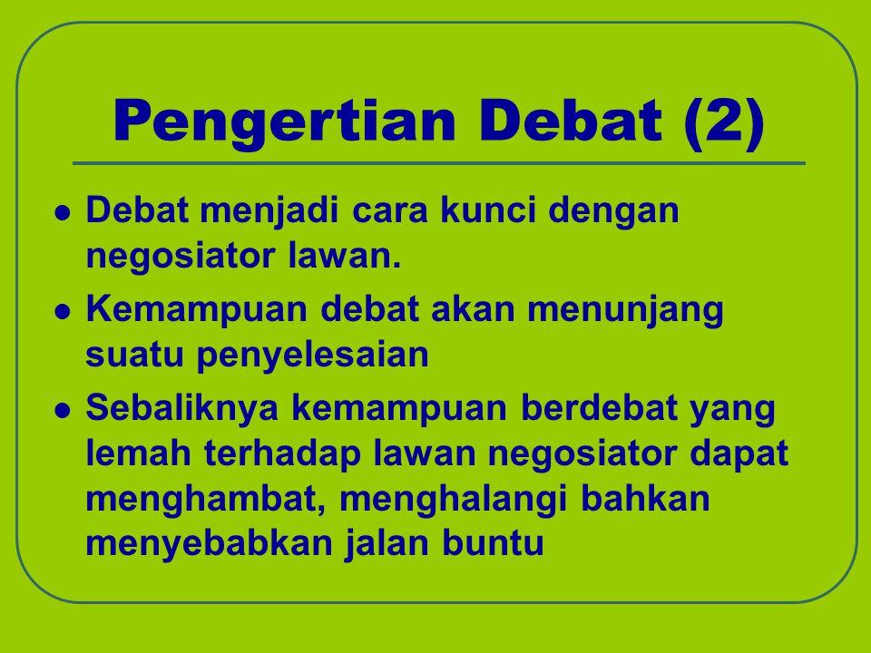 Pengertian Debat (2) Debat menjadi cara kunci dengan negosiator lawan. Kemampuan debat akan menunjang suatu penyelesaian Sebaliknya kemampuan berdebat