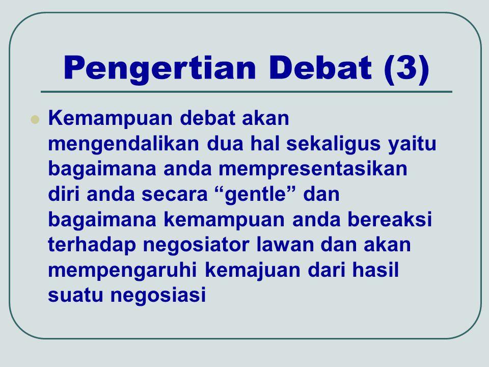 Pengertian debat (4) Dengan kemampuan berdebat anda secara lebih mudah menduga pandangan negosiator lawan Negosiator lawan hanya membutuhkan waktu sedikit untuk mengungkapkan pendapatnya Menciptakan perdebatan yang krusial adalah cara yang tidak efisen untuk mengetahui tujuan dan sikap negosiator lawan
