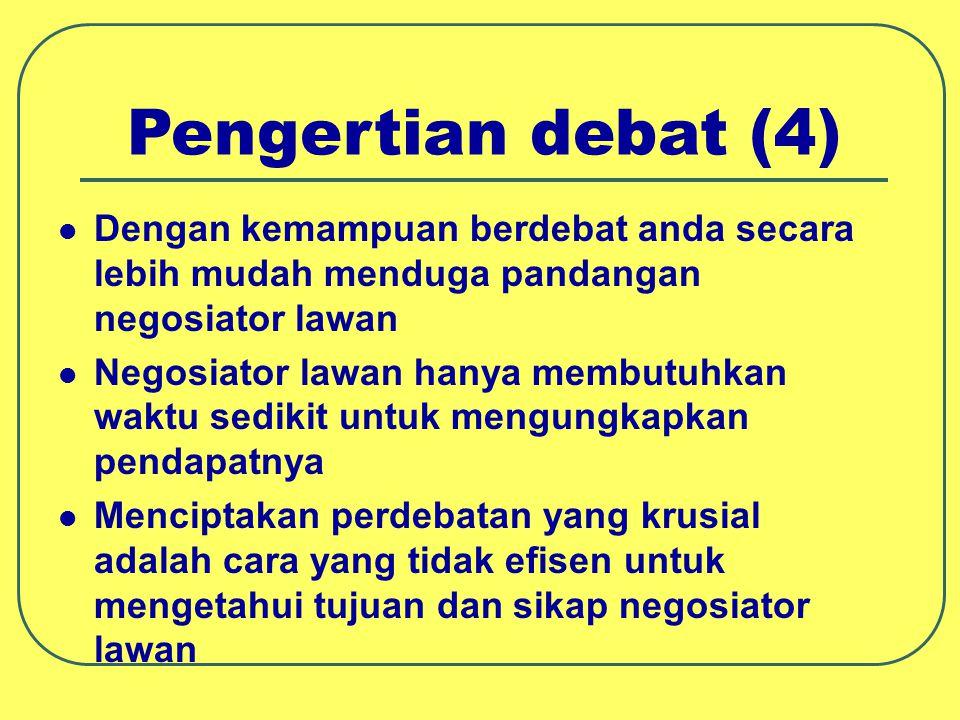 Pengertian debat (4) Dengan kemampuan berdebat anda secara lebih mudah menduga pandangan negosiator lawan Negosiator lawan hanya membutuhkan waktu sed