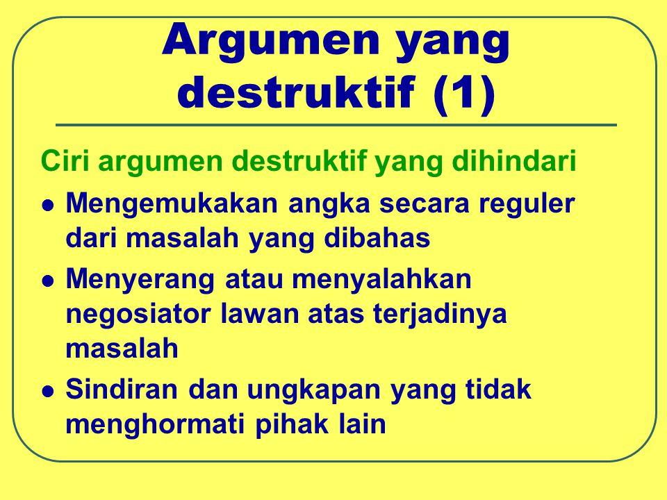 Argumen yang destruktif (2) Ciri argumen destruktif yang dihindari Menghina secara pribadi Menuduh orang lain mempunyai hidden agenda Tidak mendengarkan apa yang dikatakan orang lain Menimbulkan provokasi