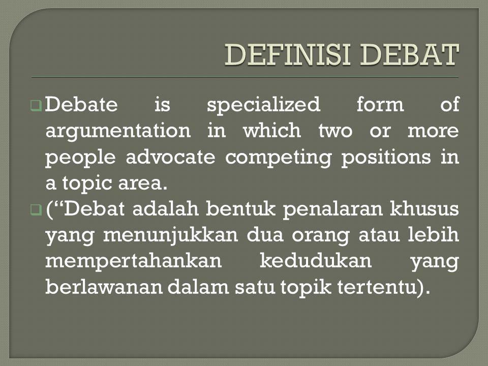  Academic debate yaitu perdebatan yang terjadi di dalam dunia akademik untuk membicarakan keabsahan satu teori atau hasil penelitian yang baru dilaksanakan.