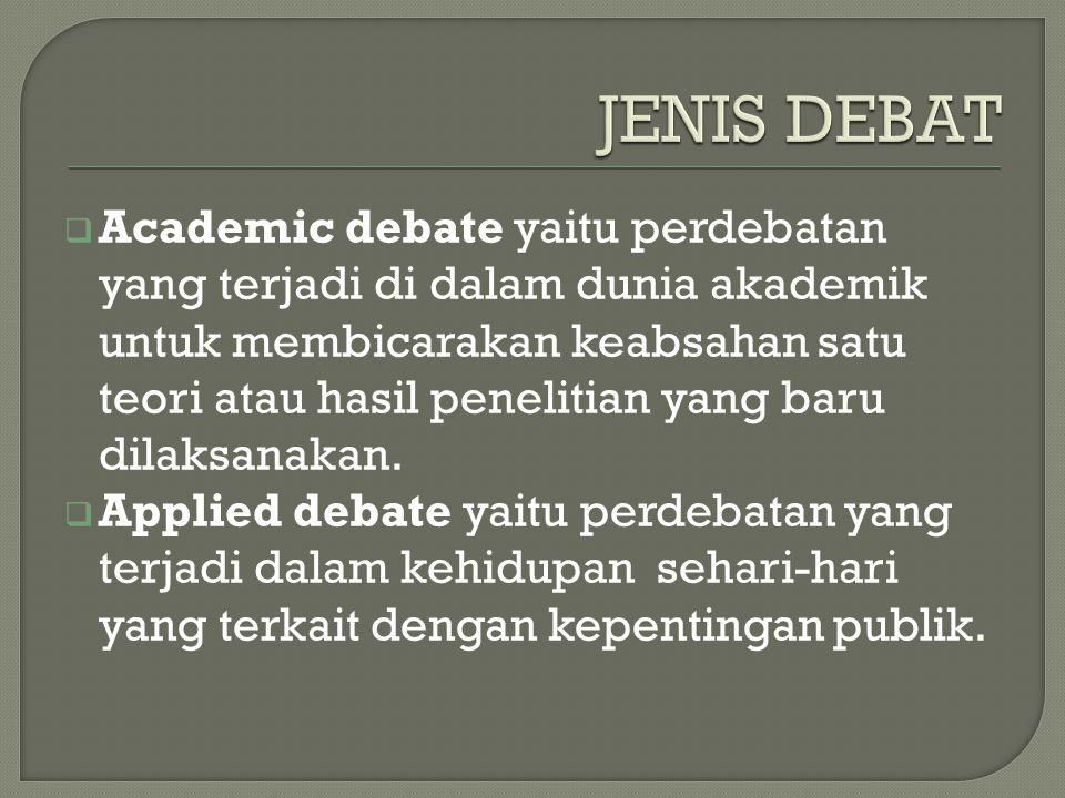  Special debate (debat khusus) yang dilaksanakan dalam kesempatan tertentu.