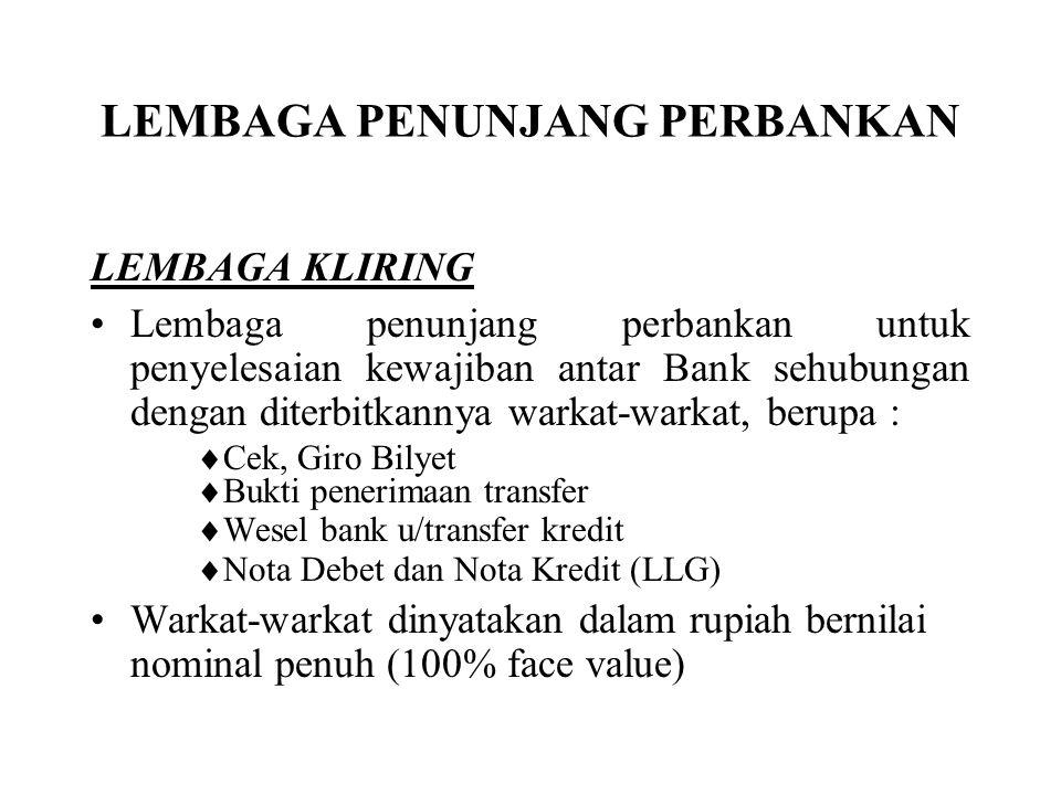 LEMBAGA PENUNJANG PERBANKAN LEMBAGA KLIRING Lembaga penunjang perbankan untuk penyelesaian kewajiban antar Bank sehubungan dengan diterbitkannya warka