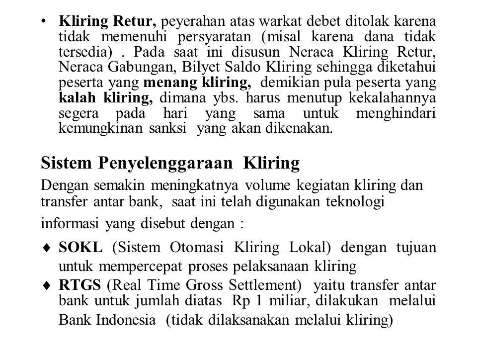 Kliring Retur, peyerahan atas warkat debet ditolak karena tidak memenuhi persyaratan (misal karena dana tidak tersedia).
