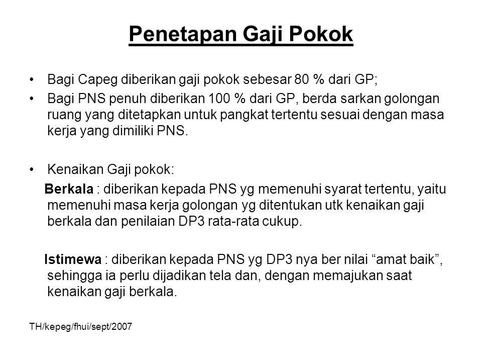 Penetapan Gaji Pokok Bagi Capeg diberikan gaji pokok sebesar 80 % dari GP; Bagi PNS penuh diberikan 100 % dari GP, berda sarkan golongan ruang yang di
