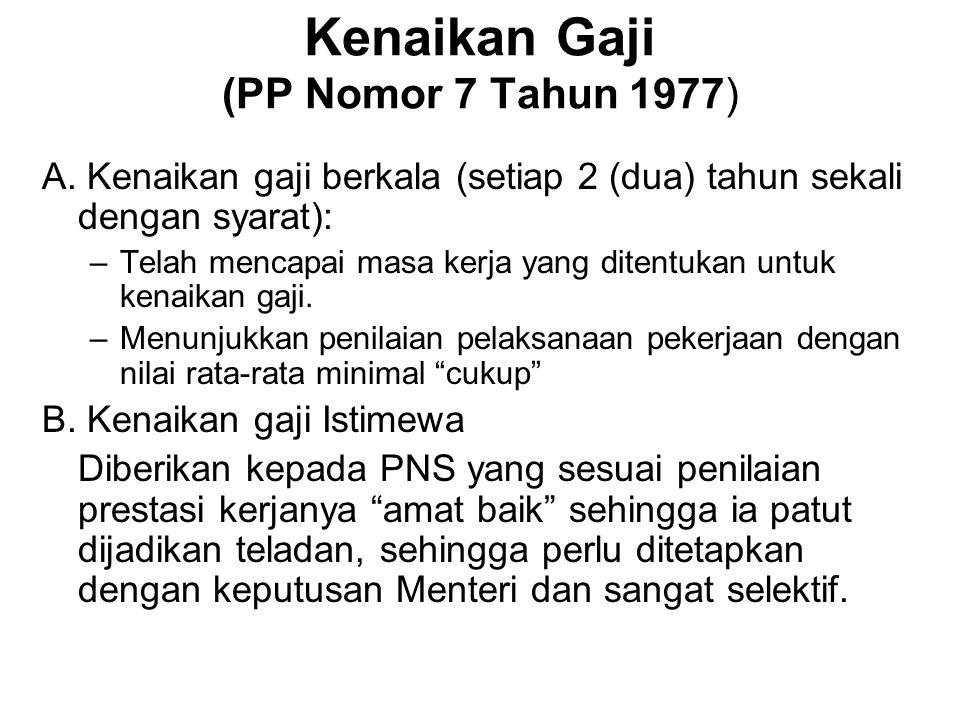 Kenaikan Gaji (PP Nomor 7 Tahun 1977) A. Kenaikan gaji berkala (setiap 2 (dua) tahun sekali dengan syarat): –Telah mencapai masa kerja yang ditentukan
