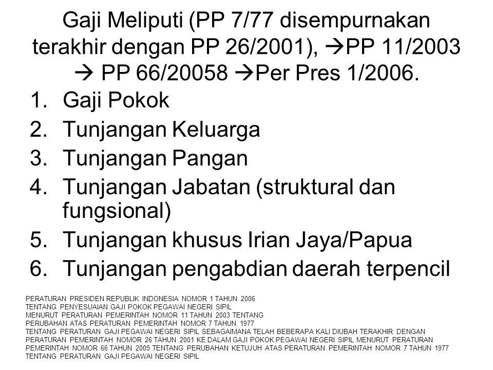 Gaji Meliputi (PP 7/77 disempurnakan terakhir dengan PP 26/2001),  PP 11/2003  PP 66/20058  Per Pres 1/2006. 1.Gaji Pokok 2.Tunjangan Keluarga 3.Tu