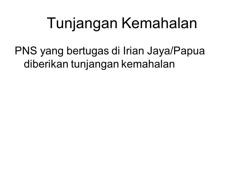 Tunjangan Kemahalan PNS yang bertugas di Irian Jaya/Papua diberikan tunjangan kemahalan