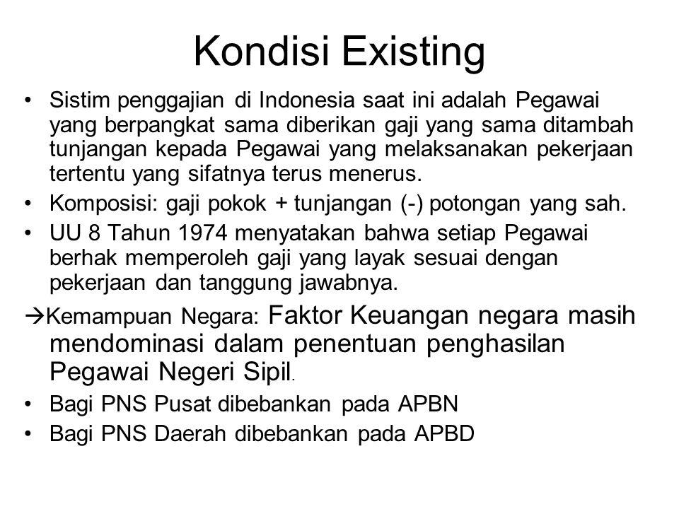 Sistim penggajian di Indonesia saat ini adalah Pegawai yang berpangkat sama diberikan gaji yang sama ditambah tunjangan kepada Pegawai yang melaksanak