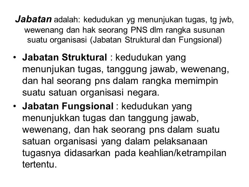 Jabatan Struktural : kedudukan yang menunjukan tugas, tanggung jawab, wewenang, dan hal seorang pns dalam rangka memimpin suatu satuan organisasi nega