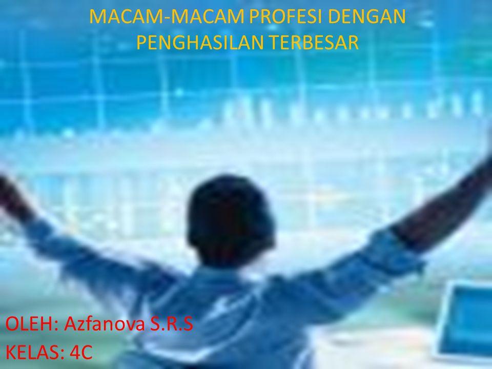 MACAM-MACAM PROFESI DENGAN PENGHASILAN TERBESAR OLEH: Azfanova S.R.S KELAS: 4C