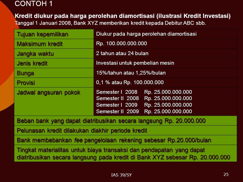25 IAS 39/SY CONTOH 1 Tujuan kepemilikan Diukur pada harga perolehan diamortisasi Maksimum kredit Rp. 100.000.000.000 Jangka waktu 2 tahun atau 24 bul