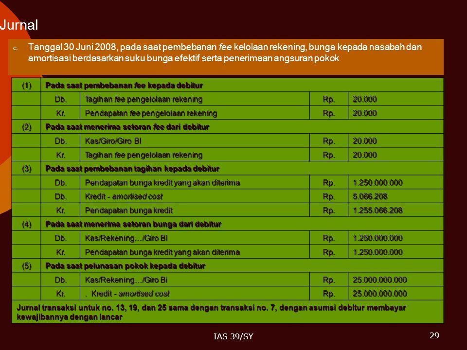 29 IAS 39/SY Jurnal  Tanggal 30 Juni 2008, pada saat pembebanan fee kelolaan rekening, bunga kepada nasabah dan amortisasi berdasarkan suku bunga ef