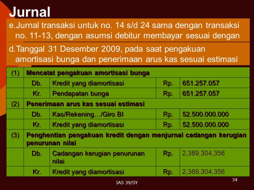 34 IAS 39/SY e.Jurnal transaksi untuk no. 14 s/d 24 sama dengan transaksi no. 11-13, dengan asumsi debitur membayar sesuai dengan estimasi arus kas. d