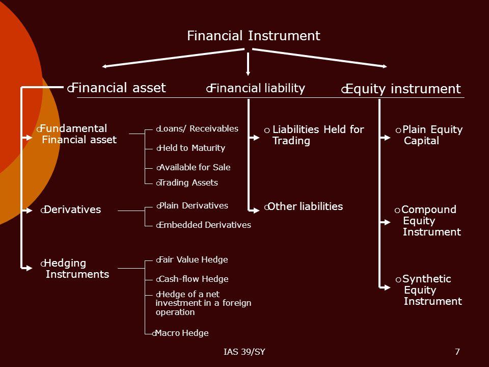 IAS 39/SY7 Financial Instrument  Financial asset  Financial liability  Equity instrument  Fundamental Financial asset  Derivatives  Hedging Inst