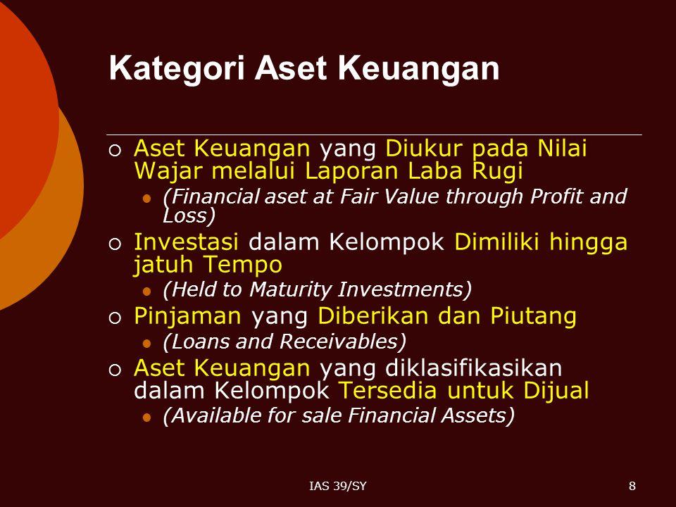 IAS 39/SY8 Kategori Aset Keuangan  Aset Keuangan yang Diukur pada Nilai Wajar melalui Laporan Laba Rugi (Financial aset at Fair Value through Profit