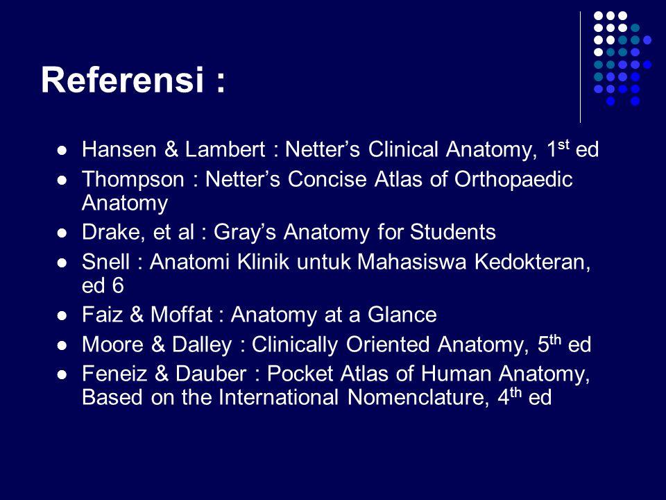 Referensi : Hansen & Lambert : Netter's Clinical Anatomy, 1 st ed Thompson : Netter's Concise Atlas of Orthopaedic Anatomy Drake, et al : Gray's Anato