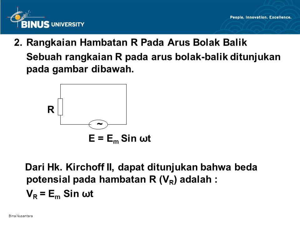 Bina Nusantara 2.Rangkaian Hambatan R Pada Arus Bolak Balik Sebuah rangkaian R pada arus bolak-balik ditunjukan pada gambar dibawah. R ~ E = E m Sin ω