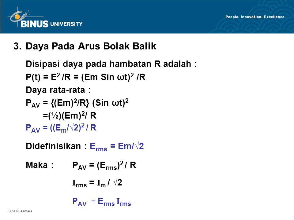 Bina Nusantara 3. Daya Pada Arus Bolak Balik Disipasi daya pada hambatan R adalah : P(t) = E 2 /R = (Em Sin ωt) 2 /R Daya rata-rata : P AV = {(Em) 2 /