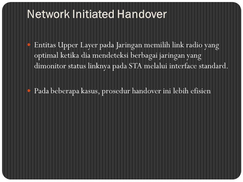 Network Initiated Handover Entitas Upper Layer pada Jaringan memilih link radio yang optimal ketika dia mendeteksi berbagai jaringan yang dimonitor status linknya pada STA melalui interface standard.