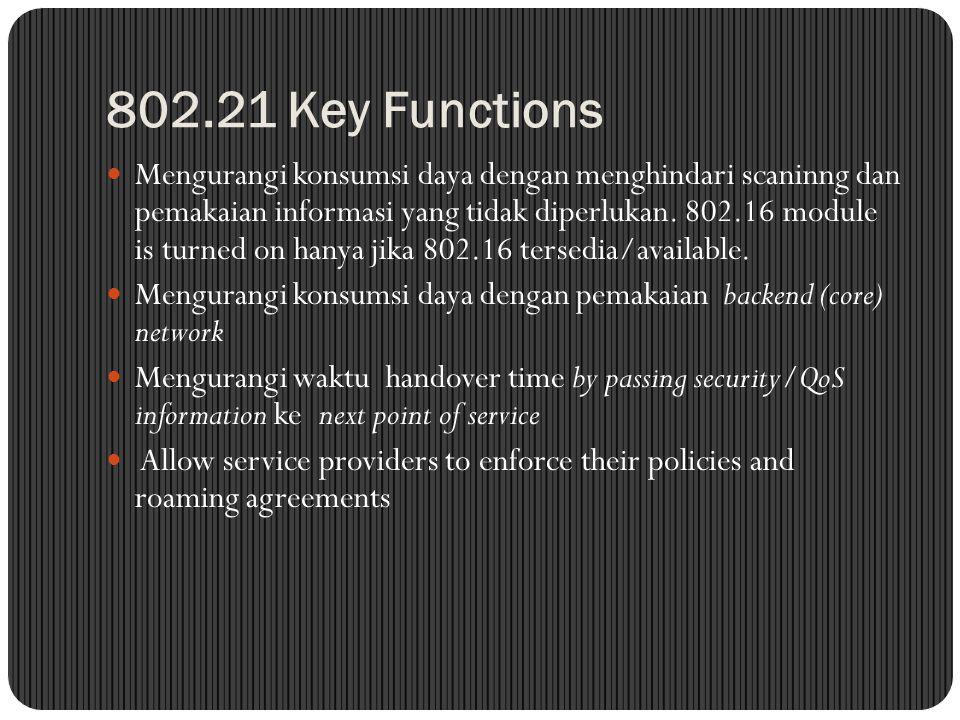 802.21 Key Functions Mengurangi konsumsi daya dengan menghindari scaninng dan pemakaian informasi yang tidak diperlukan. 802.16 module is turned on ha