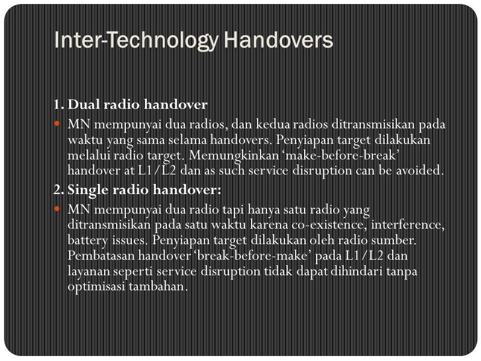 Inter-Technology Handovers 1. Dual radio handover MN mempunyai dua radios, dan kedua radios ditransmisikan pada waktu yang sama selama handovers. Peny
