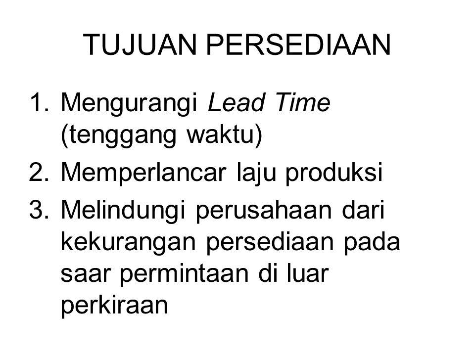 TUJUAN PERSEDIAAN 1.Mengurangi Lead Time (tenggang waktu) 2.Memperlancar laju produksi 3.Melindungi perusahaan dari kekurangan persediaan pada saar permintaan di luar perkiraan