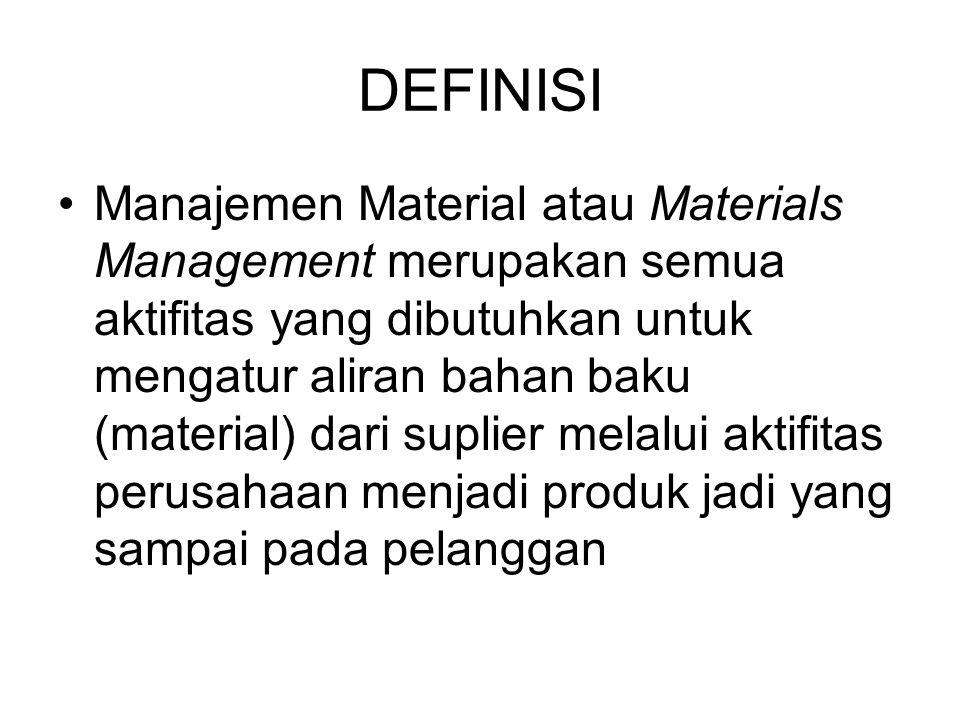 DEFINISI Manajemen Material atau Materials Management merupakan semua aktifitas yang dibutuhkan untuk mengatur aliran bahan baku (material) dari suplier melalui aktifitas perusahaan menjadi produk jadi yang sampai pada pelanggan