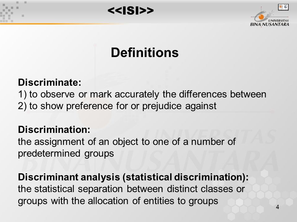 5 Discriminate Analysis seeks to: Establish relationships useful for classifying objects/individuals into one of several populations based on multi-dimensional observations The relationship is between a group membership label (a categorical response) y and a p-dimensional feature vector x Group membership is defined before the analysis begins