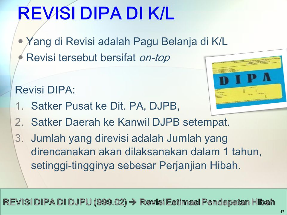 REVISI DIPA DI K/L Yang di Revisi adalah Pagu Belanja di K/L Revisi tersebut bersifat on-top Revisi DIPA: 1.Satker Pusat ke Dit. PA, DJPB, 2.Satker Da