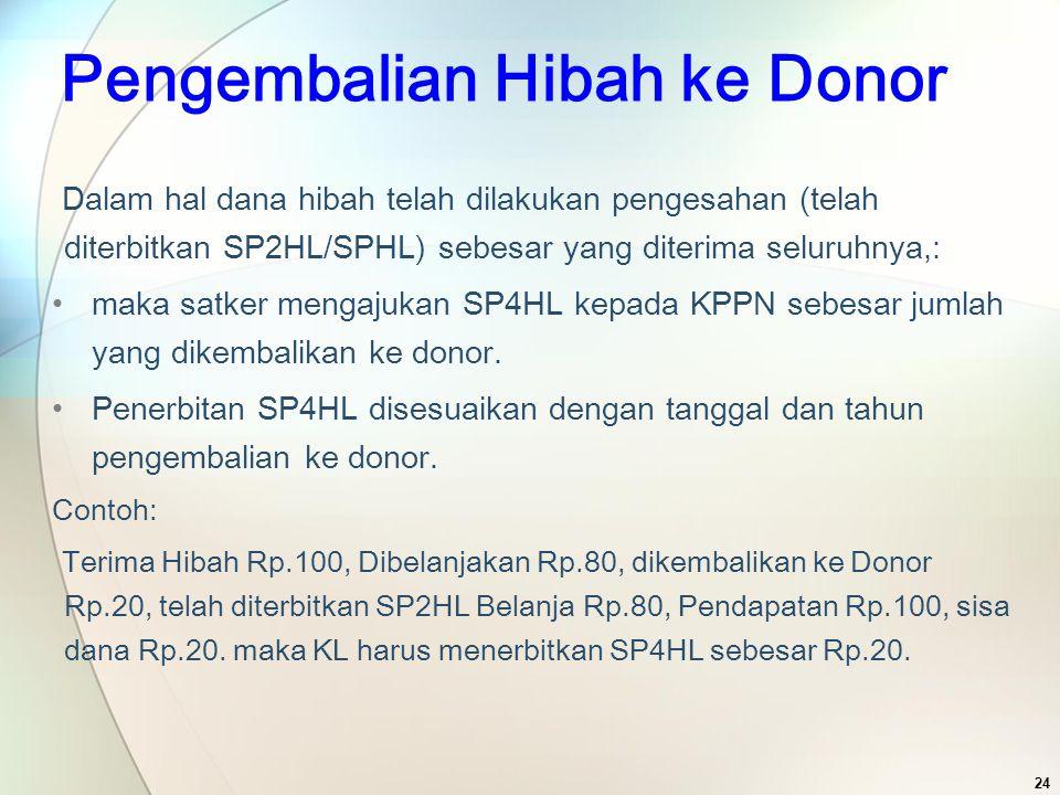 Pengembalian Hibah ke Donor Dalam hal dana hibah telah dilakukan pengesahan (telah diterbitkan SP2HL/SPHL) sebesar yang diterima seluruhnya,: maka sat