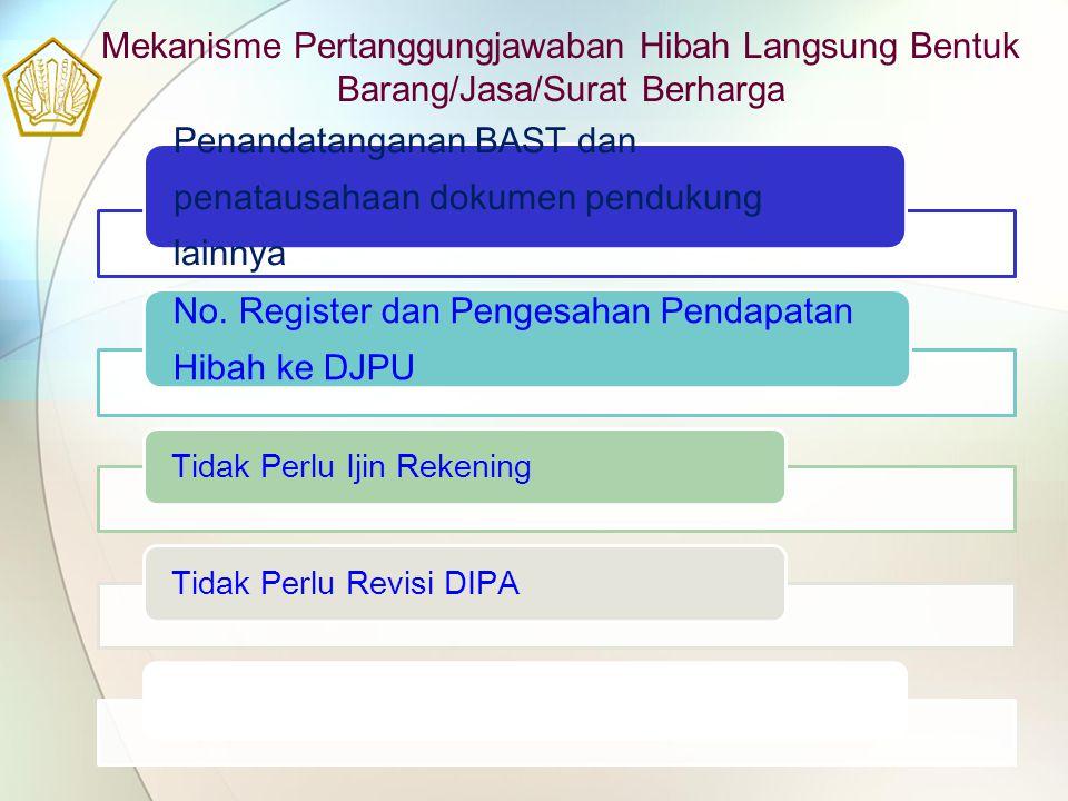 Mekanisme Pertanggungjawaban Hibah Langsung Bentuk Barang/Jasa/Surat Berharga Penandatanganan BAST dan penatausahaan dokumen pendukung lainnya No. Reg