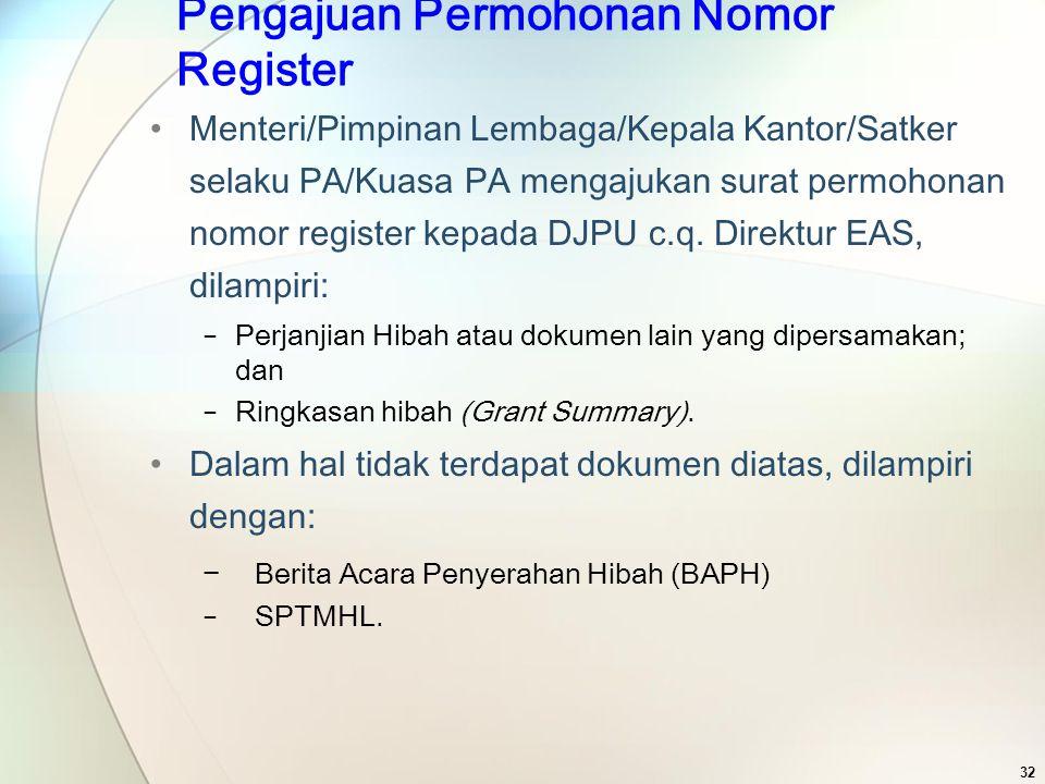 Pengajuan Permohonan Nomor Register Menteri/Pimpinan Lembaga/Kepala Kantor/Satker selaku PA/Kuasa PA mengajukan surat permohonan nomor register kepada