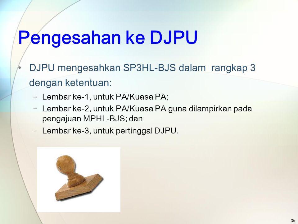 Pengesahan ke DJPU DJPU mengesahkan SP3HL-BJS dalam rangkap 3 dengan ketentuan: − Lembar ke-1, untuk PA/Kuasa PA; − Lembar ke-2, untuk PA/Kuasa PA gun