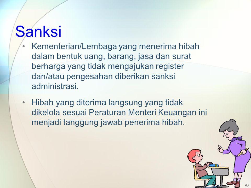 Sanksi Kementerian/Lembaga yang menerima hibah dalam bentuk uang, barang, jasa dan surat berharga yang tidak mengajukan register dan/atau pengesahan d