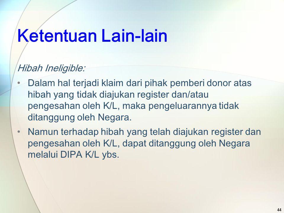 Ketentuan Lain-lain Hibah Ineligible: Dalam hal terjadi klaim dari pihak pemberi donor atas hibah yang tidak diajukan register dan/atau pengesahan ole