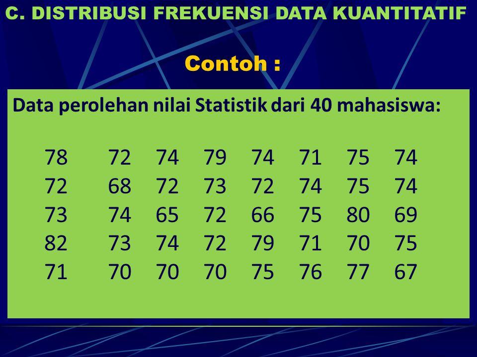 Contoh : C. DISTRIBUSI FREKUENSI DATA KUANTITATIF Data perolehan nilai Statistik dari 40 mahasiswa: 7872747974717574 7268727372747574 7374657266758069