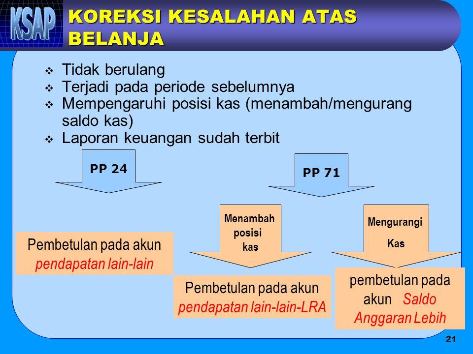 KOREKSI KESALAHAN ATAS BELANJA  Tidak berulang  Terjadi pada periode sebelumnya  Mempengaruhi posisi kas (menambah/mengurang saldo kas)  Laporan k