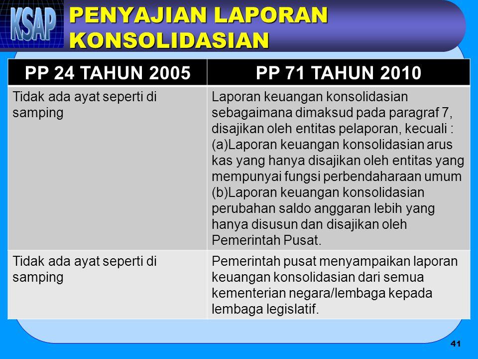 PENYAJIAN LAPORAN KONSOLIDASIAN PP 24 TAHUN 2005PP 71 TAHUN 2010 Tidak ada ayat seperti di samping Laporan keuangan konsolidasian sebagaimana dimaksud