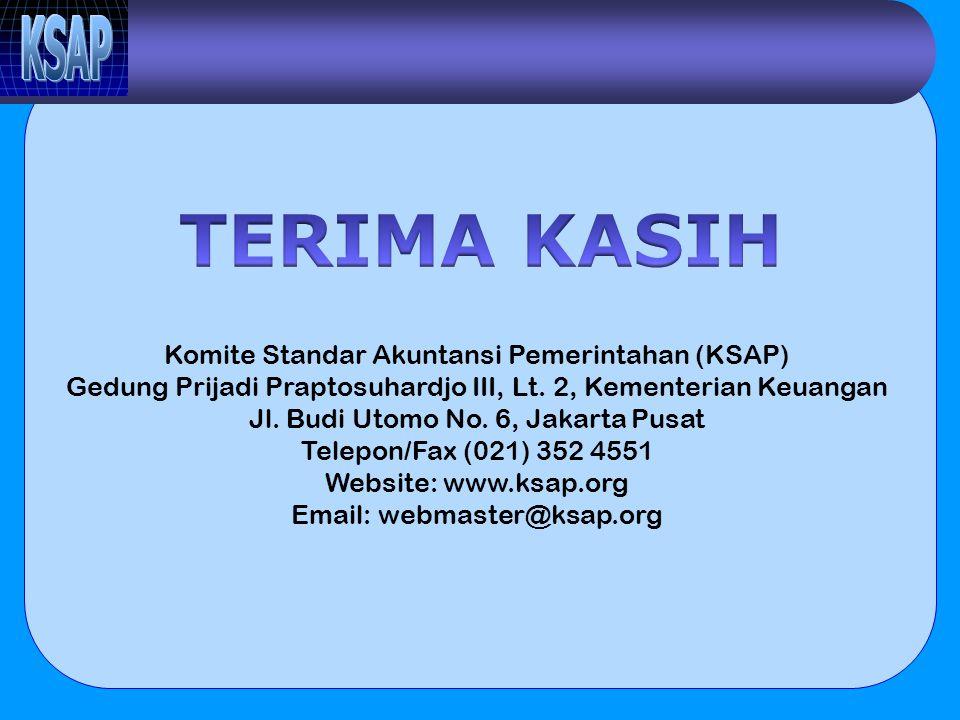 Komite Standar Akuntansi Pemerintahan (KSAP) Gedung Prijadi Praptosuhardjo III, Lt. 2, Kementerian Keuangan Jl. Budi Utomo No. 6, Jakarta Pusat Telepo