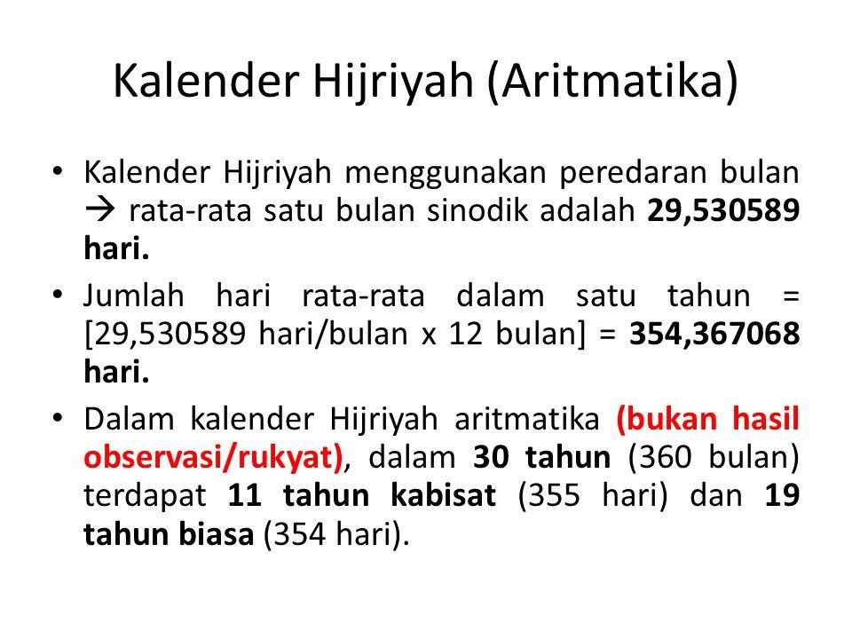 Kalender Hijriyah (Aritmatika) Kalender Hijriyah menggunakan peredaran bulan  rata-rata satu bulan sinodik adalah 29,530589 hari.