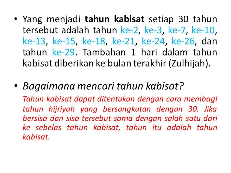 Yang menjadi tahun kabisat setiap 30 tahun tersebut adalah tahun ke-2, ke-3, ke-7, ke-10, ke-13, ke-15, ke-18, ke-21, ke-24, ke-26, dan tahun ke-29.