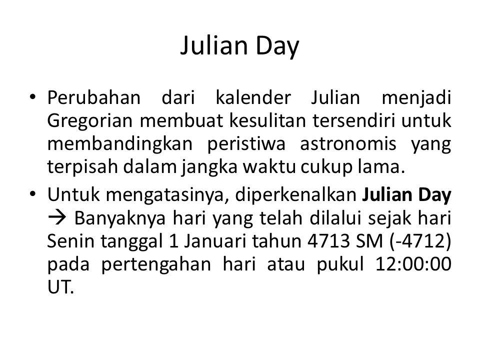 Julian Day Perubahan dari kalender Julian menjadi Gregorian membuat kesulitan tersendiri untuk membandingkan peristiwa astronomis yang terpisah dalam jangka waktu cukup lama.