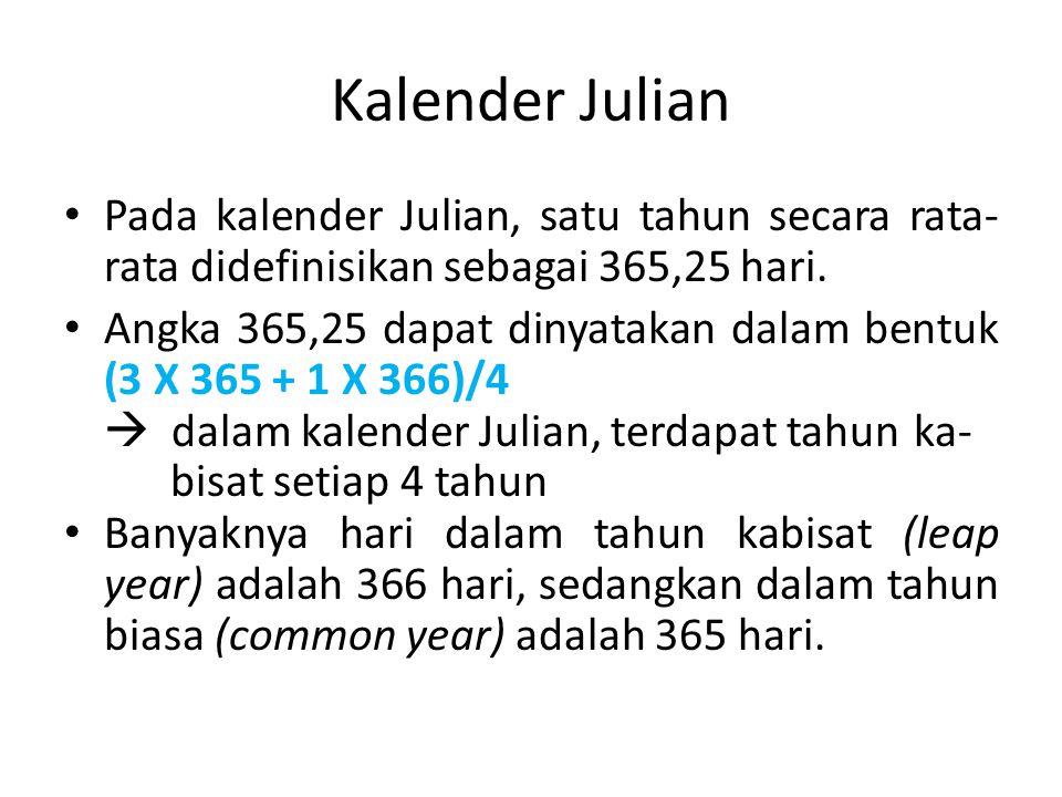Kalender Julian Pada kalender Julian, satu tahun secara rata- rata didefinisikan sebagai 365,25 hari.