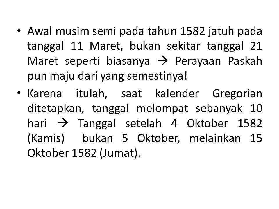 Awal musim semi pada tahun 1582 jatuh pada tanggal 11 Maret, bukan sekitar tanggal 21 Maret seperti biasanya  Perayaan Paskah pun maju dari yang semestinya.